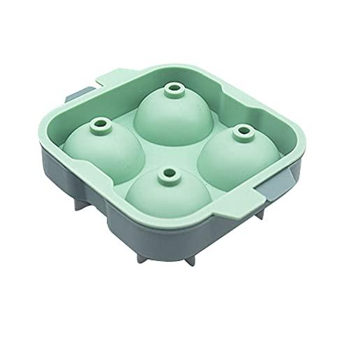Chunjing Molde de Bandeja de Hielo Creativo de Hockey sobre Hielo de Whisky Bandeja de Hielo de Silicona de Cuatro Bolas con Tapa Bandeja de Hielo esférica(Color:Verde)