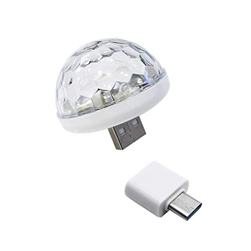HSKB USB Light Discobal Party Lamp RGB lichteffect Disco Muziekspeler projector DJ Licht Crystal Magic Kugellicht Deco voor verjaardag accessoires Decoratie Feest Club Bar Mobile Phone Magic Ball B