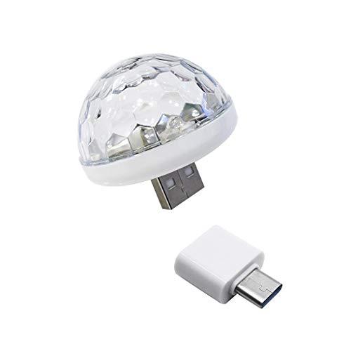 Disco Ball Licht, Mini Discokugel Led Party Lampe, Bühnenbeleuchtung Effektlicht, Perfekt für Handys, Laptop, Fernseher, Lautsprecher, Musikanlage, Soundanlage, Soundbox (Type-C)