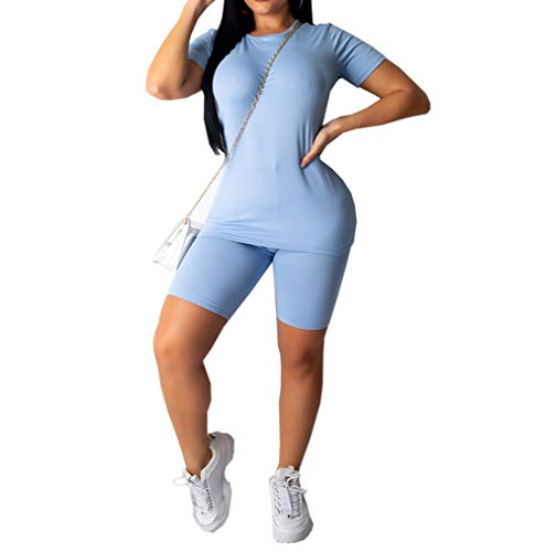 Loalirando Ensemble Femme Shorts et Haut Décontracté à Manches Courtes Tenue de Sport Yoga Fitness,Bleu,S
