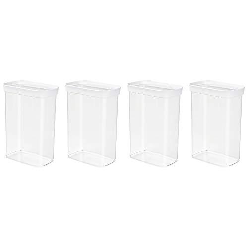 EMSA 513559 OPTIMA Trockenvorratsdose, Hochformat, 2.20 Liter, klar/weiß (4er Pack)