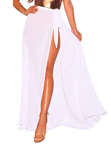 LIENRIDY Women's Bikini Sarong Cover up Sheer Wrap Beach Maxi Skirt Swimwear White Long S-M