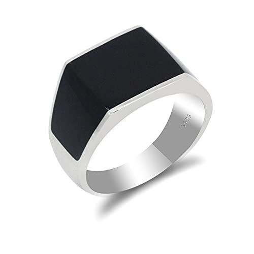QLJYT Anillos de Esmalte Turco Negro Plata de Ley 925 para Hombre y Mujer Compromiso Aniversario de Boda Regalo Joyería,7