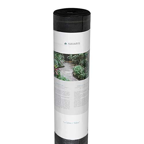 Navaris Malla antihierbas de 50M² - Tela de jardinería con protección UV - Resistente a roturas - para Las Malas Hierbas - Tamaño XL 1x50M