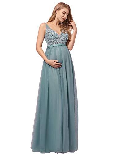 Ever-Pretty Premamá Vestido de Fiesta Largo para Mujer Embarazada Apliques Tul de Maternidad Apoyos De Fotografía Azul Polvoriento 40