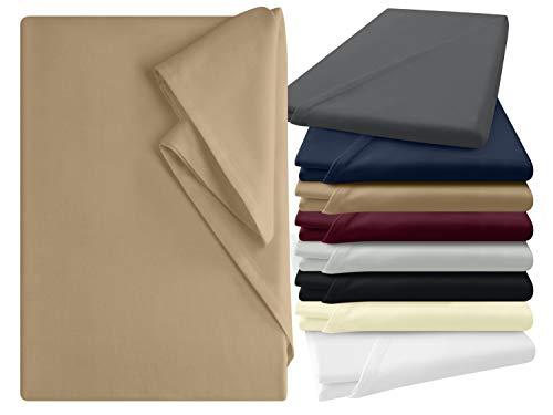npluseins Bettlaken - 100% Baumwolle - in 6 Farben - in 3 verschiedenen Größen - Haushaltstuch ohne Spanngummi, ca. 180 x 275 cm, Sand