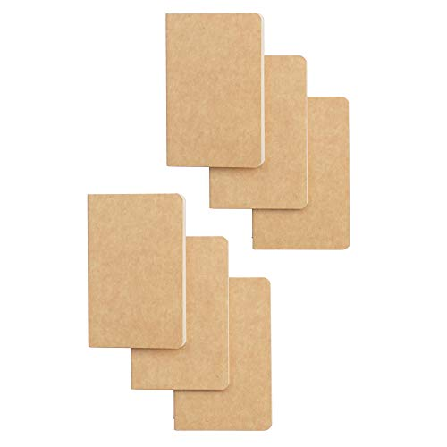 "Softcover Pocket Notebook Set - 3.5"" x 5.5"" - 6 Pack - 30 Sheets - 60 Blank Pages - Perfect for the Traveler or Author"