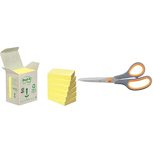 Post-It 653-1B - Pack de 6 notas recicladas, 38 x 51 mm, color amarillo & AmazonBasics - Tijeras con mango suave y cuchilla de titanio (20 cm, pack de 1)