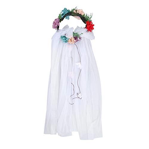 Lurrose Flower Crown met sluier black floral hoofdband voor bruiloft festival multicolor