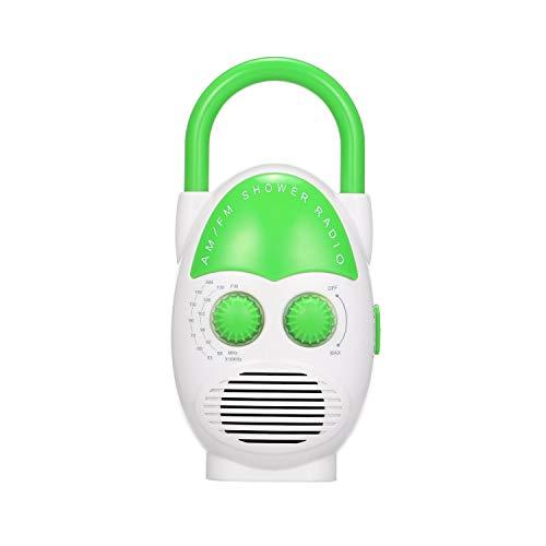 TSP Badradio Mini AM/FM Duschradio Badezimmer Wasserdicht Tragbares Radio Hängendes Musikradio mit eingebautem Lautsprecher Duschradio Wasserdicht Duschlautsprecher (Farbe: Grün)