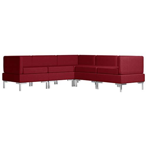 vidaXL Sofagarnitur 5-TLG. Stoffsofa Couch Loungesofa Polstersofa Sofa Couchgarnitur Polstergarnitur Sitzmöbel Ecksofa Mittelsofa Stoff Weinrot