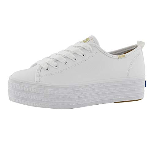 Keds womens Triple Up Leather Sneaker, White, 11 US