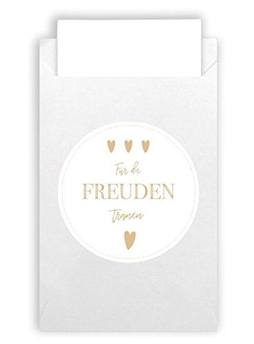Plantvibes 100 Umschläge & 100 Freudentränen Sticker aus Naturpapier im Vintage-Stil für die Hochzeit, Taschentücher, Mitgebsel & Schmuck, weiss