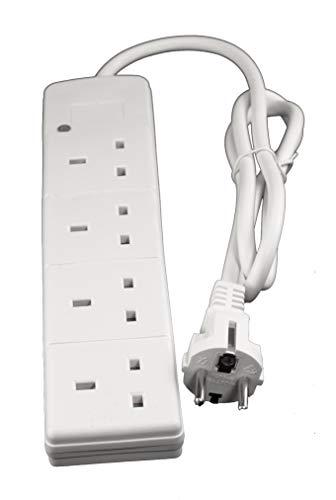 Adaptateur de voyage type E/F Schuko européen avec câble de 1 m et 4 prises britanniques - fonctionne en France, Espagne, Allemagne, Belgique, Italie, etc.