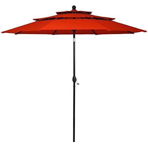 Tangkula 10 Ft 3 Tier Patio Umbrella, Outdoor Umbrella W/Double Vented, Market Table Tilt Umbrella with Crank, Outdoor Aluminum Umbrella for Market, Backyard, Pool, Garden (Orange)