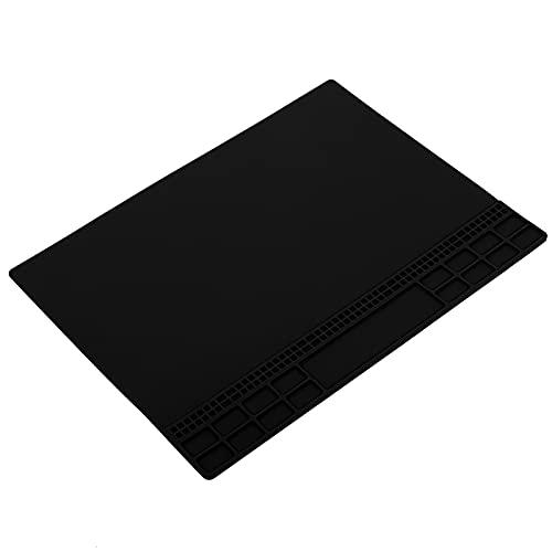 Eulbevoli Almohadilla de reparación Resistente al Calor, Alfombrilla de reparación de Silicona magnética antiestática para teléfono móvil para reparación de computadoras(Negro)