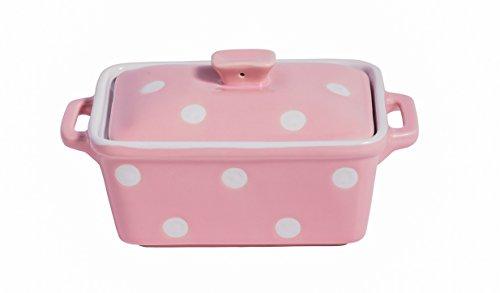Isabelle Rose - IR5486 - Keramik Butterdose/Mini Backform - rosa mit weißen Punkten/Polka dot