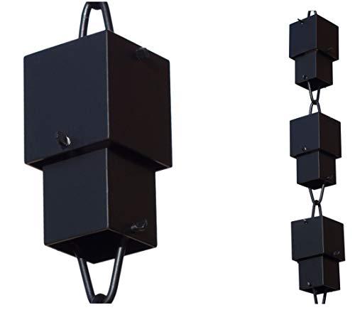 Monarch Rain Chains 12027 Powder Coated Monarch Square Cups Rain Chain, 8-1/2 Feet Length Powd, Standard, Flat Black Aluminum