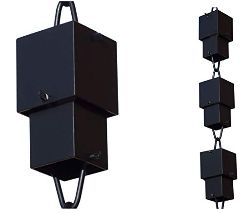 Monarch Aluminum Square Cups Rain Chain, 8-1/2 Feet Length (Black Powder Coated)