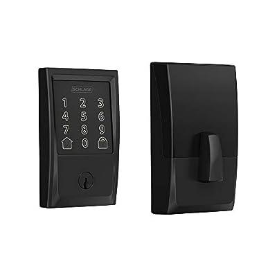 Schlage Lock Company BE489WB CEN 622 Schlage Encode Smart WiFi Deadbolt with Century Trim In Matte Black, Lock