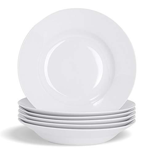 Argon Tableware Juego de Platos hondos Blancos para Sopa o Pasta - Borde Ancho - 230mm - Pack de 6