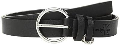 Calvin Klein Women's 25mm Flat Strap with Loop Ring Detail, black, S