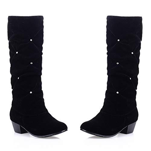 COZOCO Damen Strass hohe Stiefel Volltonfarbe Wildleder Stiefel Elegante Spitze Zehen Winterstiefel(Schwarz,38 EU)