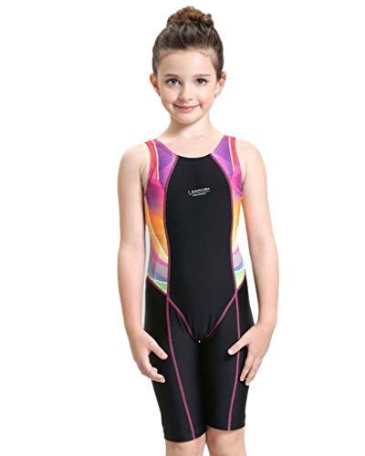 VERTAST Mädchen athletische konkurrenzfähige Badeanzüge Racerback Legsuit Badebekleidung für Alter 4-15, Rosa, 150cm/12~14 Jahre