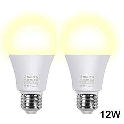 Motion Sensor Light Bulbs, Aukora 12W (100-Watt Equivalent) E26 Motion Activated Dusk to Dawn Security Light Bulb Outdoor/Indoor for Front Door Porch Garage Basement Hallway Closet 2 pack