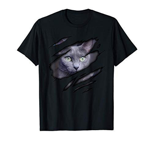 Russian Blue Cat in me design, Catdesign, Purebred Cat T-Shirt