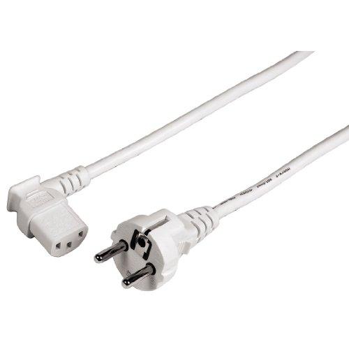 Hama netkabel voor koude apparaten 90 graden (stroomkabel voor PC, monitor, printer, PS3, gespoten geaarde stekker, 3-polig, hoekig) koudapparaatkabel wit, 90 graden - 3 m, 3 m, wit