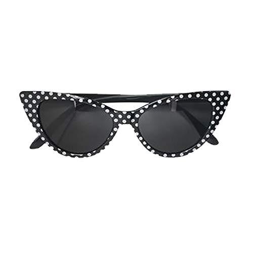 Islander Fashions Damas de lunares en punta Gafas de sol para mujer Tema 50s Fiesta Cat Eye Frame Gafas Negro/Blanco