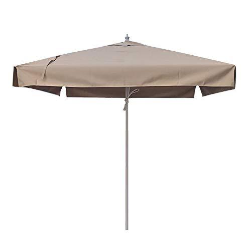 Sombrilla Terraza Parasol Jardin 2m Cuadrados Sombrilla para Mesa de Patio con Volantes Beige/Caqui Sombrilla de Jardín Impermeable para la Piscina del Mercado Al Aire Libre, Postes de Aluminio y 4