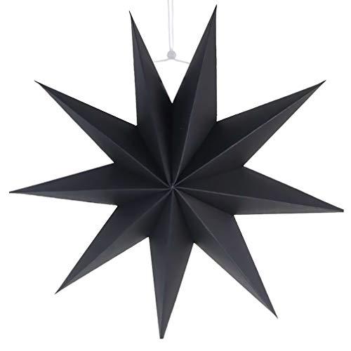SUPVOX linternas de Papel de Estrella Pantalla de Estrella de Papel de 9 Puntas Pantalla de lámpara Colgante decoración de Pared para el hogar Boda decoración de Fiesta de Navidad 30 cm (Negro)