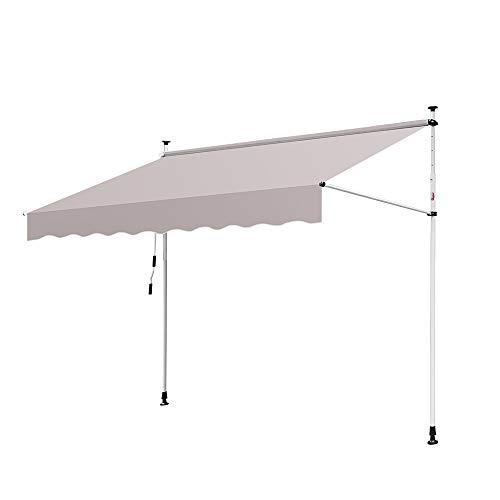 wolketon Gelenkarmmarkise UV-beständig Einziehbar Klemmmarkise mit Handkurbel Höhenverstellbar (350 x 120 cm, Beige)