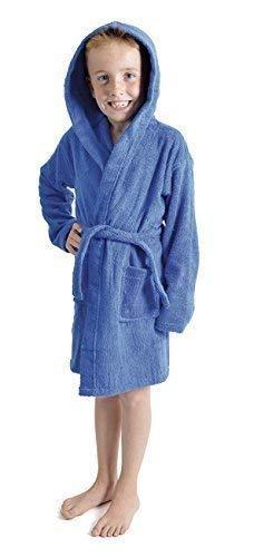 Aumsaa - Albornoz con capucha para niños (100% algodón) Azul azul cobalto 13 años