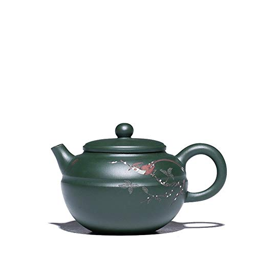 Kungfu Porcelain Lid Teas Teacups Sets Teapot Ore Pure Hand-painted Green Clay Mud Line Round Pot Teapot Country Workers LEBAO (Color : Green)