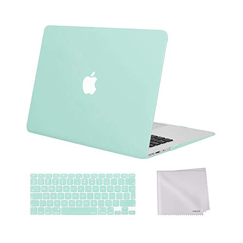 MOSISO MacBook Air 13 inch Case Older Version 2010-2017 Release A1369 A1466, Plastic Hard Shell Case & Keyboard Cover Skin & Wipe Cleaning Cloth Only Compatible with MacBook Air 13 inch, Mint Green