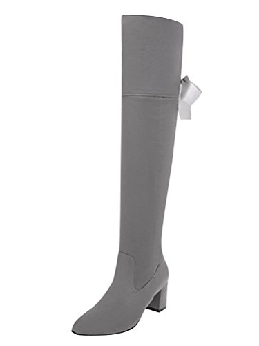 Minetom Damen Overknee Stiefel Blockabsatz High Heels Winter Mode Casual Elegant Lange Boots Lace Up 34-45 B Grau EU 37