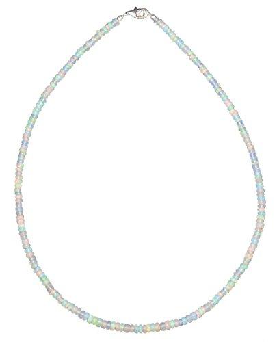 ERCE Edelopal weiß Opal Edelsteinschmuck Kette, Karabinerverschluss 925 Silber, Länge 50 cm
