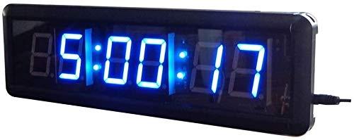 YAOHONG Cuenta Regresiva LED Reloj Digital Cronómetro Digital Entrenamiento A Intervalos Gimnasio Cuenta Atrás con Mando A Distancia For El Hogar Y La Oficina (Color: Negro, Tamaño: 1,8 Pulgadas)