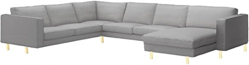 Sofa Cover Only! The Dense Cotton Karlstad Corner Sofa (2+3) with Chaise Lounge Cover Replacement, is Made Compatible for IKEA Karlstad Sectional and Chaise Slipcover (Light Gray)