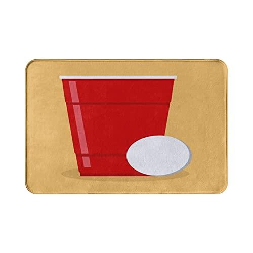 MOBEITI Tappeto Morbido Flanella Antiscivolo,Birra Con Bicchiere E Pallina In Plastica Rossa,Tappeto Ad Asciugatura Rapida Per Cucina Soggiorno Ingresso Bagno Tappeto Esterno Interno