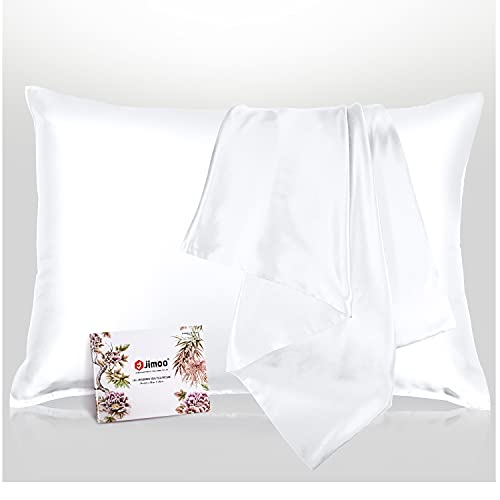 100% Mulberry Silk Pillowcase for Hair and Skin, Both Sides 19 Momme Pure Natural Silk Pillowcases Soft Breathable King 20''×36'', White 1 Pack