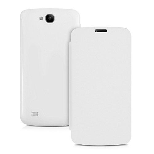 kwmobile Flip Case Hülle für Huawei Honor Holly - Aufklappbare Schutzhülle Tasche im Flip Cover Style in Weiß - 5