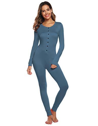 Women Onesies Pajama Thermal Romper Underwear Union Suit Button Down Blue Loungewear