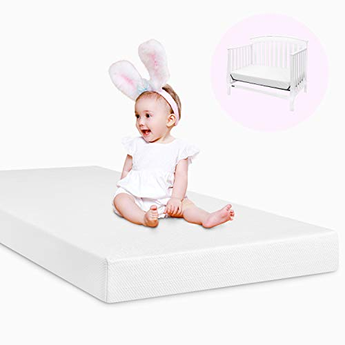 """HOMFY Standard Size 5"""" Baby Mattress,2 in 1 Memory Foam Toddler Mattress for Boys Girls with Waterproof Bamboo Cover, CertiPUR-US Certified, 51.2 x27.6 x5 inch (White)"""