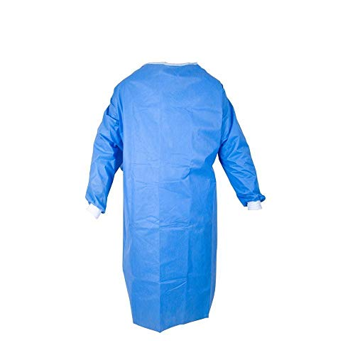100 Pack Disposable Gowns - Bulk Medical Supplies - Blue Plastic Gowns - Non-Surgical Gowns - PPE (100)