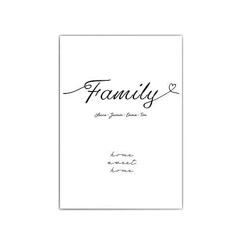 Personalisierte Poster Familie - Typographie - a4 / 30x40 cm – Family - Herz - Geschenk Familien Namen - persönliches Geschenk - Home sweet Home - ohne Bilderrahmen