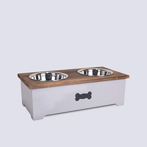 green leaves Luxury Dog Food Feeding Stand Station Stainless Double Raised Bowls Wooden Crate (Grey)